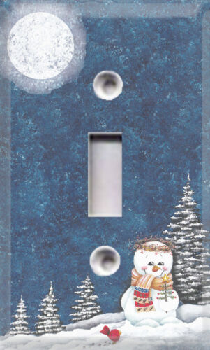 Christmas Winter Night Snowman Themed Light Switch Cover ~ Choose Your Cover ~