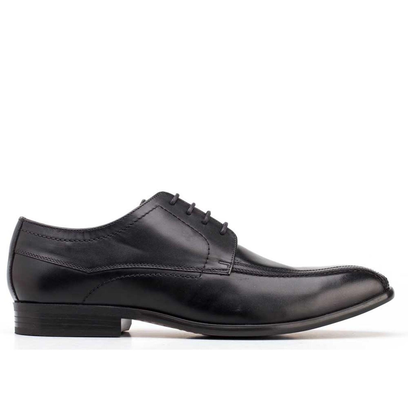 Base London Gilmore da uomo cerosa Pelle Stringati Formali Eleganti Scarpe Derby Nero