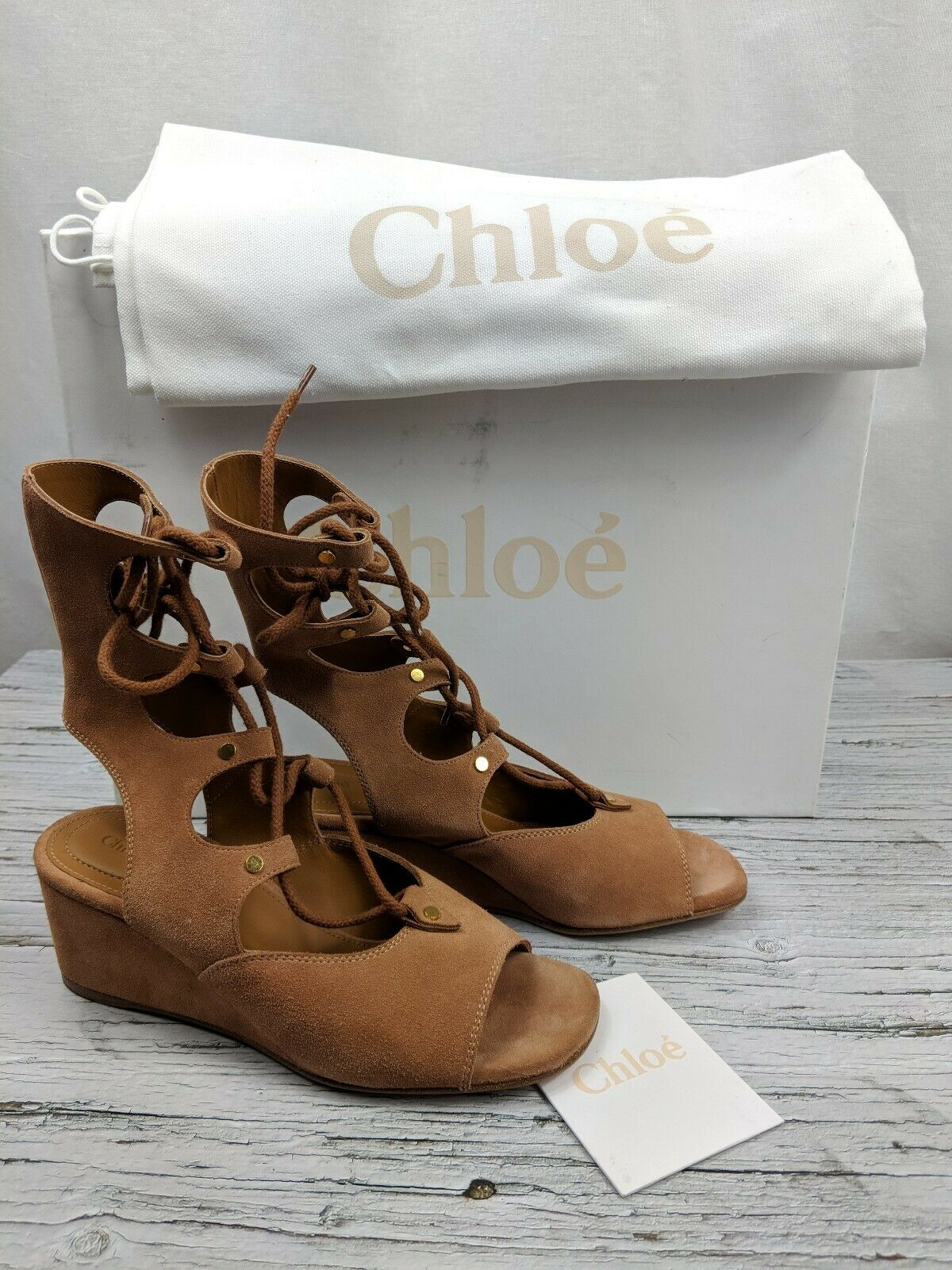 NEW Chloe Camel Suede Lace Up Gladiator Wedge Sandals Sz 36 US 6  950