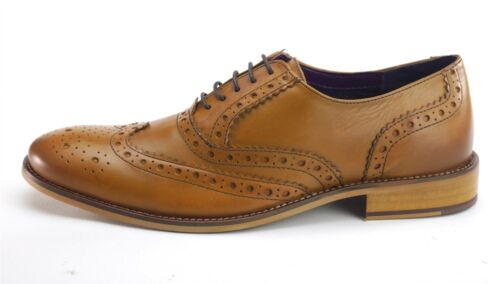 Frank James Redford Brogues Lace Up Mens Leather Shoes Tan Brown