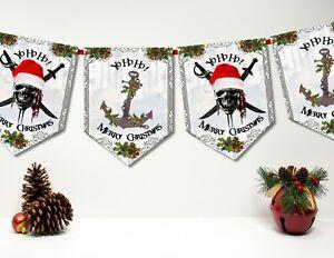 YO-HO-HO Pirata Natale Bunting/Banner & Nastro - 10 Bandiere  </span>