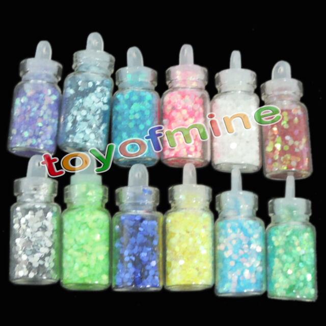 12 Bottles Mini 3D Nail Art Glitter Flake Tips DIY Decor Manicure Quadrilaterial