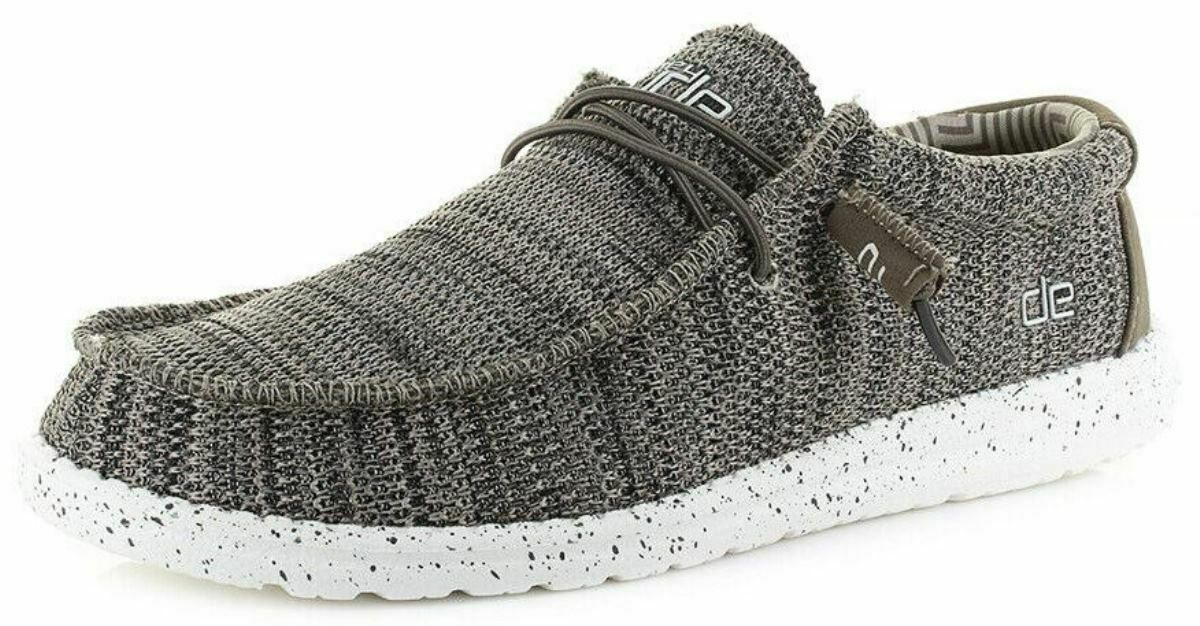 Hey Dude Wally Sox Brown Textile Mens Slipons shoes