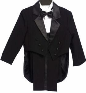 Boys-Tailed-Penguin-Black-Tuxedo-suit-Satin-fancy-wedding-Bow-tie-vest-pants