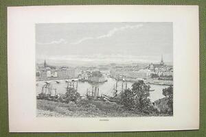 FRANCE-Bayonne-City-Town-View-1880s-Antique-Print