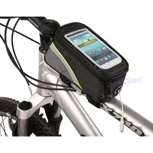 Bike Cycle Bicycle Frame Pannier Front Tube Bag Touch Holder For Mobile Phone