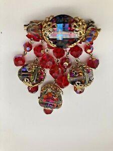 Signed Vendome Vintage Jewelry Red Aurora Borealis Rhinestone Pin Broach JW135
