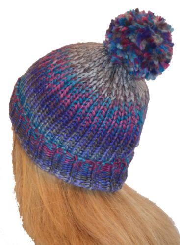 Bunte Grob Strickmütze Bommelmütze Multicolour Wollmütze mit Bommel für Damen