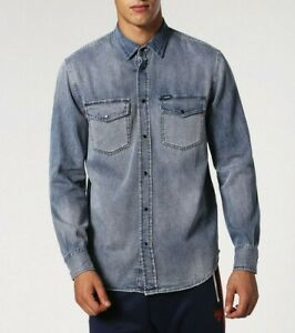 Diesel-Mens-039-D-Rooke-OGAQG-Faded-Casual-Denim-Jeans-Shirt-Size-S-M-L-XL-XXL