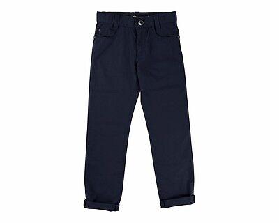 Sale Hugo Boss Kids J24501 849 Five Pocket Cotton Chino Pants Blue 4-16 Years