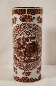 Japanese-Cylinder-Vase-With-Red-amp-Pink-Flowers-amp-Carriage-with-Gold-Accents-10-034-T