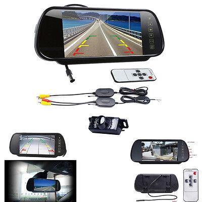 7LCD Mirror Monitor +Wireless Car Reverse Rear View Backup Camera Night Vision