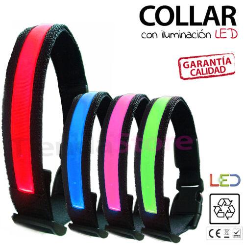 LED Mascota Collar De Perro Parpadeante Luminoso Regulable Seguridad Iluminación