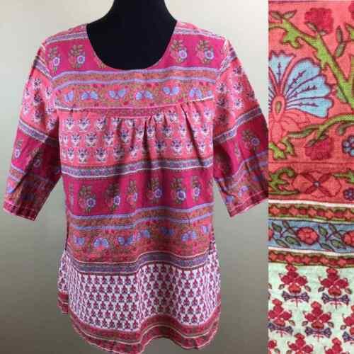 pink paisley print blouse printed boho hippie top block printed blouse bow tie 1970s 70s block print cotton tunic top small