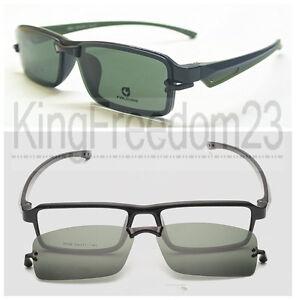 Clip on Eyeglasses Frame Black Green Driving Glass ...