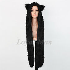 Full Hood Hoodie Hat Mittens Scarf Glove Button 3 IN 1 Function Black Cat USA