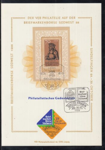 C 24 ) East Germany beautiful Philatelic commemorative sheet 1988 Ulrich Hutten