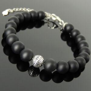 Men-039-s-Women-Bracelet-8mm-Matte-Black-Onyx-925-Sterling-Silver-Bead-Link-1367