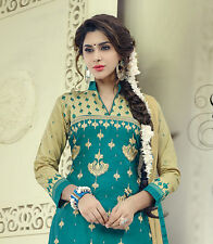 Designer Glace Cotton Salwar Kameez Green Color Unstitched Party Wear Material