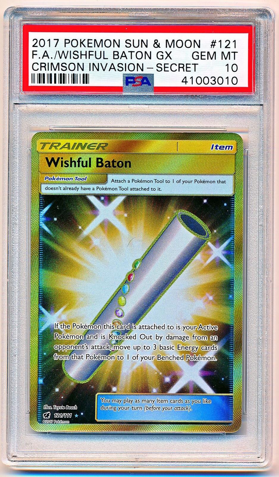 Sun Moon Crimson Invasion Wishful Baton Trainer Full Full Full Art Secret Rare PSA 10 fb1068