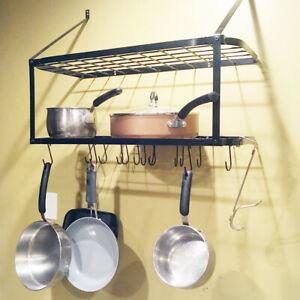 Details About Home Pot Rack Wall Mounted Pan Shelf Hanging Racks 2 Tire Kitchen Black Us Stock