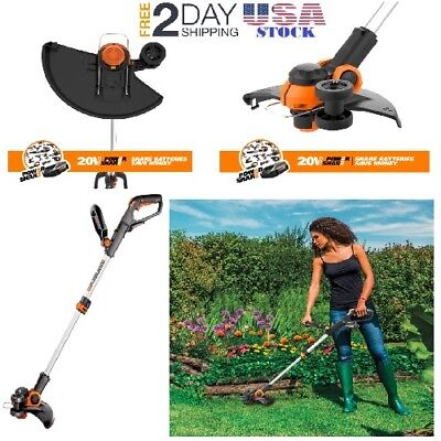 20V Electric Cordless String Trimmer Weed Eater Lawn Wacker Edger Grass Yard