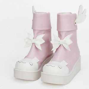 Sweet Lolita Rokoko Rosa Pink Wing Flügel Stiefeletten boots Cosplay Kostüme