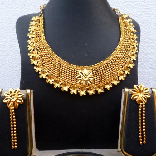 22K Gold überzogene indische Hochzeit 8 /'/' lange Halskette Ohrringe Set c