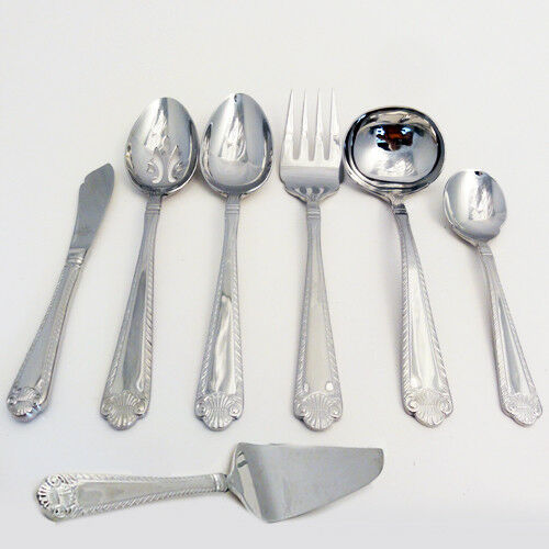 FRENCH SHELL by Wallace 6 Piece Hostess Hostess Hostess Set Stainless 18 8 NEW NEVER USED de0c34