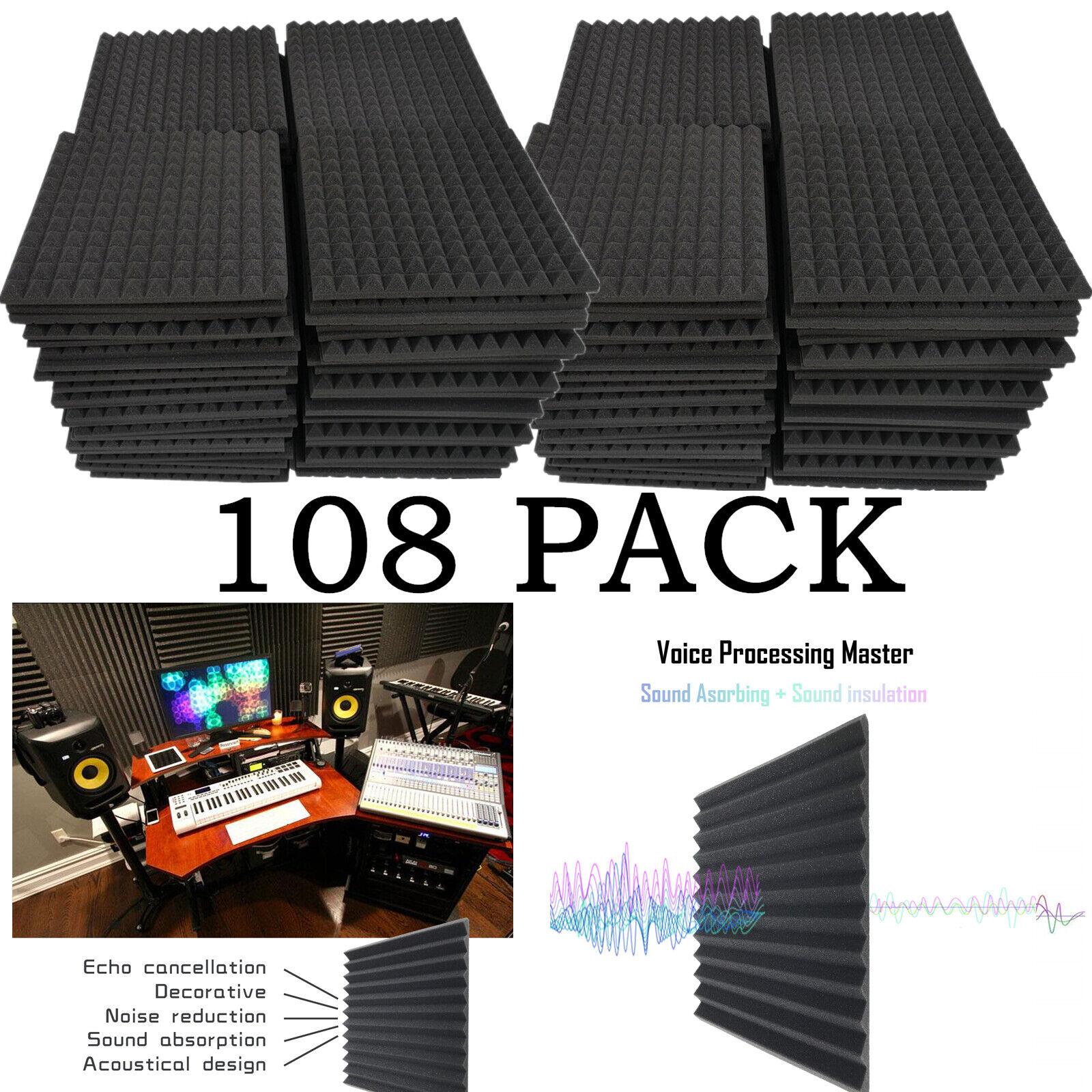 108 Pack Acoustic Foam Panels Wedge
