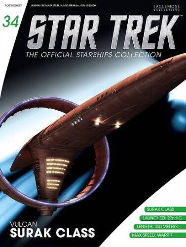 #34 Star Trek Vulcan Surak Class Die Cast Metal Ship-UK//Eaglemoss w Mag