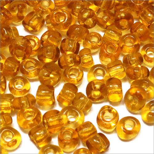 rocaille glass seed beads Transparent 4mm 6//0 250 pcs Ocher Yellow 20g approx