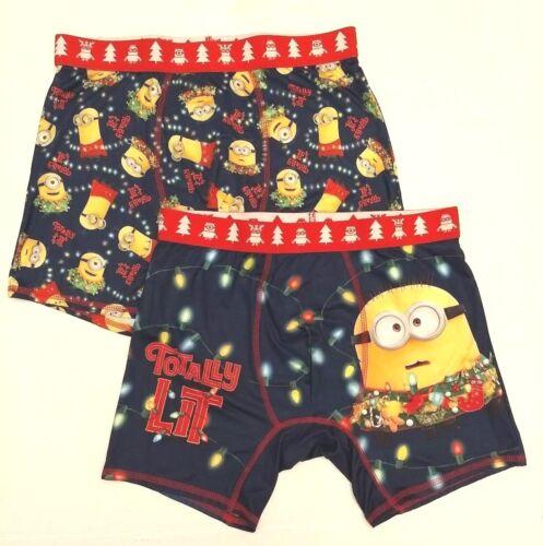 2pk Minion Despicable Me Christmas Holiday Boxer Brief Underwear Mens M L XL
