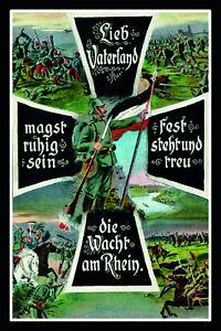 Lieb-Vaterland-Deutsches-Kaiserreich-Blechschild-Schild-Tin-Sign-20-x-30-cm