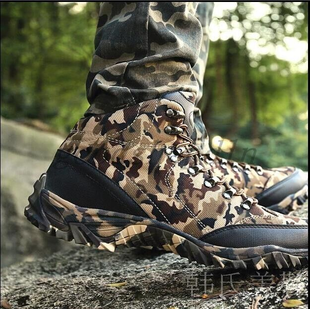 Outdoor Mens Camo Army Military Tactical Combat Shoes Lace Up Desert Ankle Boots