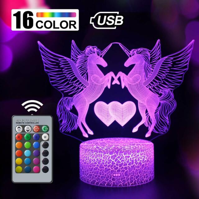 Optical Illusion 3D Squid Night Light 16 Colors Changing USB Power Remote Control Touch Switch Decor Lamp LED Table Desk LampChildren Kids Christmas Xmas Brithday Gift