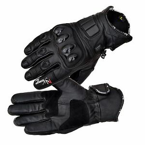Black-Leather-Knuckle-Protection-Motorbike-Motorcycle-Short-Summer-Gloves-Racing
