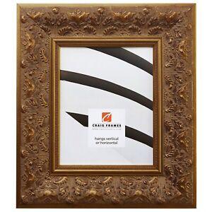"""Craig Frames 3.5"""" Wide Aged Ornate Gold Wood Picture Frames & Poster Frames"""