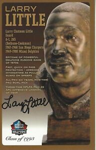 Larry Little Miami Dolphins  Football Hall Of Fame Autographed Bust Card