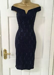 Womens-40-EX-QUIZ-Navy-Lace-Sequin-Bardot-Bodycon-Evening-Party-Dress-8-18
