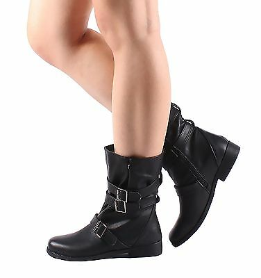 Black Color Military Zip Open Buckle Fashion Womens Low Heels Mid Calf Boots