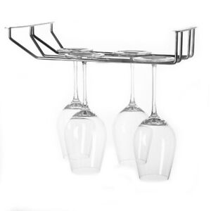 Pro-Stainless-Steel-Bar-Pub-Chrome-Under-Cabinet-Wine-Glass-Hanger-Stemware-JI1