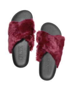 Victoria's Secret PINK PINK PINK Faux Fur Crisscross Slides Farbe Deep Ruby b434d4
