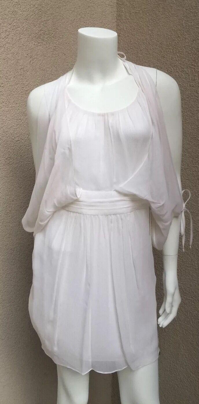 Neuf avec étiquettes Milly Of nouveau York Dos nu Femme robe ivoire 100% soie SZ4 fantaisie hommeches