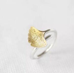 925-Sterlingsilber-Ring-Damen-Ringe-Ginkgo-Blatt-Verstellbar-Silber-Gold-Symbol