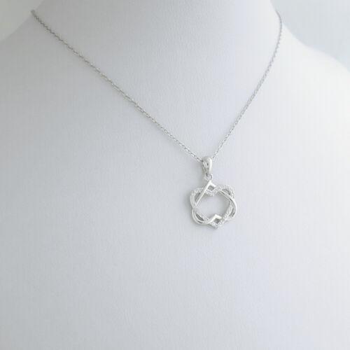 925 Plata esterlina CZ flotante de doble Trenzado Nudo Amor Corazón Collar Infinito