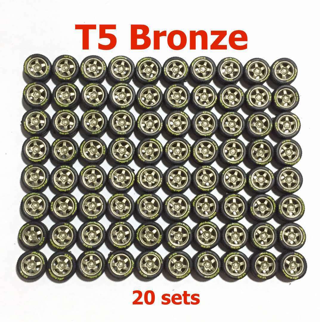1 64 rubber tires T5 Bronze rims fit Hot Wheels Nissan Skyline diecast - 20 set