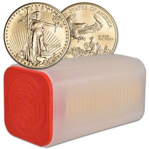 2020-American-Gold-Eagle-1-oz-50-1-Roll-Twenty-20-BU-Coins-in-Mint-Tube
