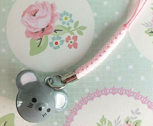 GREY RAT MOUSE ANIMAL METAL BELL KEYRING KEY RING HANDBAG MOBILE PHONE CHARM