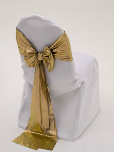 200 Tissue Lame Chair Sashes Bow Metalic Gold Or Silver 100 Polyester Made Usa Ebay